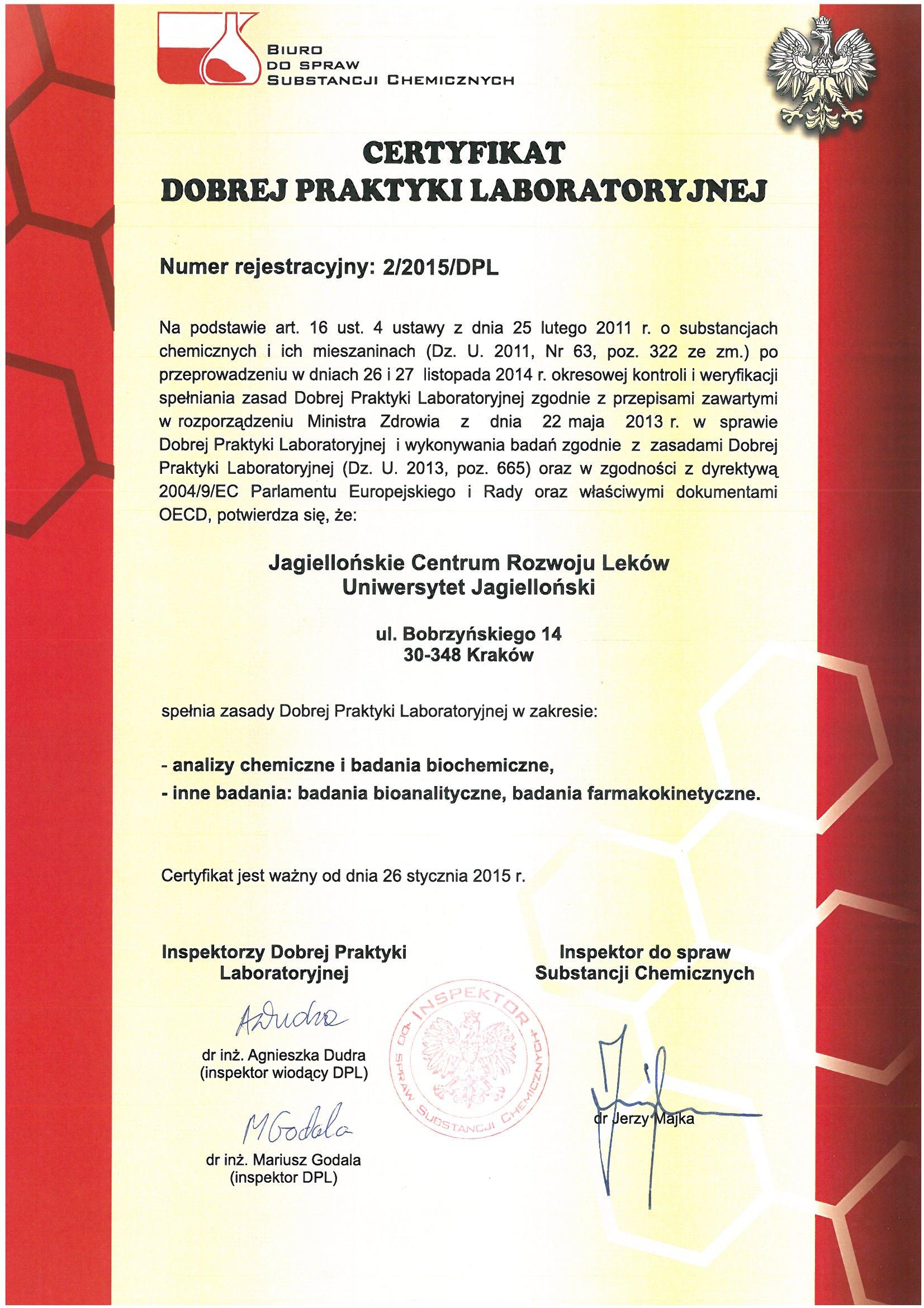 GLP certyfikat PL